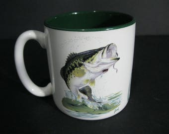 Vintage Fishing Mug, Al Agnew Wildlife Collection Mug, Bass Fishing Mug