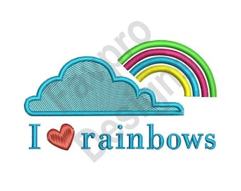 I Love Rainbows Cloud - Machine Embroidery Design