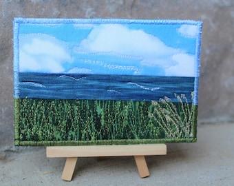 Postcard Seascape,Fabric, Textile Art,Thread Painting,