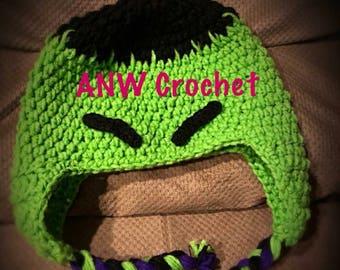Hulk inspired crochet hat