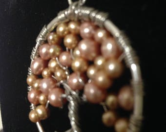 Pink / Gold Fresh Water Pearl Tree Of Life  Necklace Pendant Artistic wire Silver plated