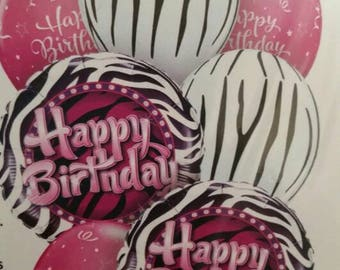 Happy Birthday Zebra balloon kit, great mix of birthday balloons, zebra print, pink birthday, 7 balloons