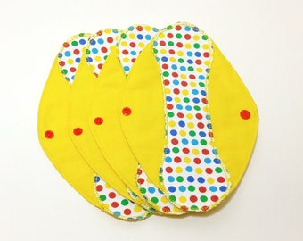 """Polka Dots Yellow Reusable Pantyliner with Wings (9.5"""") - menstrual pad; panty liner; cloth pads; cotton; washable liner; flannel"""
