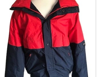 Vtg 80s SKYR ski jacket puffer gore tex red blue coat winter men large
