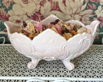 Vintage Pink Milk Glass Footed Bowl