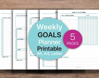 Weekly Goals, Weekly Planner Printable, Habit tracker, Weekly Printable, Planner, Weekly | Goals  | Printable, A4, A5, Letter.