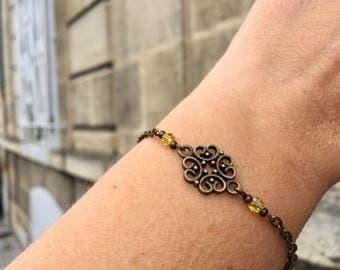 bronze bracelet women bracelet yellow bracelet minimalist bracelet Bohemian women gift anniversary gift