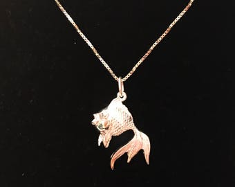 Silver Fish charm pendant with silver necklace