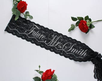Bridal party Bachelorette Sash Bachelorette party Custom Made Bachelorette lace Bridal sash Plus Size Personalized Bridal Gift Bride sash