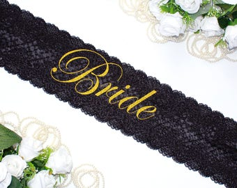 Lace Party Sash, Bachelorette Luxury Black Sash, Amazing Bride To Be Sash, Lace Sash, Wedding, Bridal shower Sash, Bridal Party Accessories