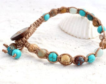 Macrame single wrap bracelet, bracelet with gemstones (turquiose dyed, bluelace agate, amazonite, picture jasper), gift for ladies and teens