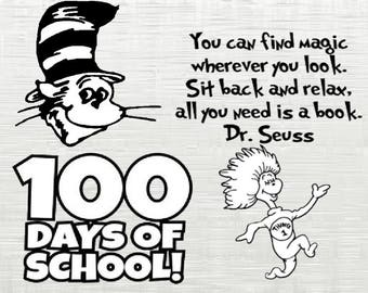 Dr Suess SVG, Thing 1 svg, 100 days svg, cutfile svg, svg files for silhouette cameo, cricut explore, dxf file,  SVG, Cat Hat SVG