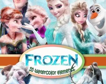 Disney Frozen Clipart 300 dpi Images Digital Clip Art Instant Download Graphics, Elsa and Anna, snowman