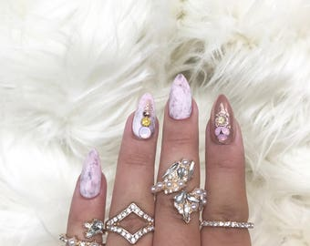 Pink Marble Press On Nails