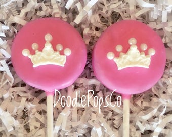 Princess crown Oreo cookie pops / girls birthday party favor / baby shower / chocolate covered Oreo / one dozen (12)