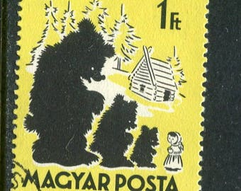 Goldilocks & The Three Bears Fairy Tail Themed Stamp Issued in Hungary Used/Vintage Stamp