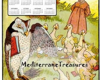 printable 2017 wall Calendar from a fairy tale ,desk calendar,poster A4 for kids room and nursery.