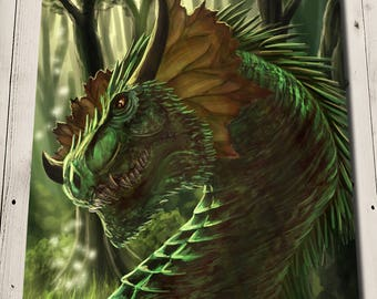 Forest Dragon Print - Dragon Portrait - Dragon Decor - Dragon Gift - Dragon Garden Art - Dragon Head - Dragon Illustration - Dragon Wall Art
