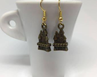 Bronze Fairytale Cinderella Castle Drop Earrings