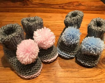 Hand Knitted Baby Pom Pom Booties