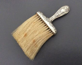 High Quality Antique Sterling Table Crumb Brush / Repoussse Handle / 925 Sterling Silver  /