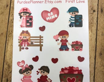 First Love. Planner Stickers, Erin Condren, Recollections, Happy Planner, Cute Stickers, ECLP, Fun.