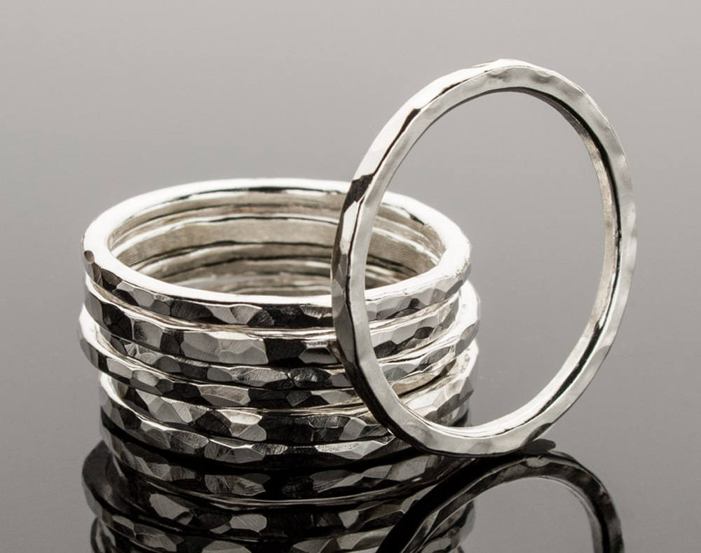 sterling silver stacking ring stackable rings hammered