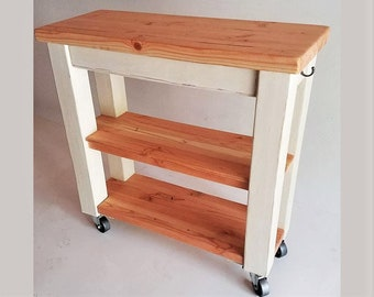 Kitchen Cart Butcher Block Top Utility Cart Rustic Farm Cottage Shelf
