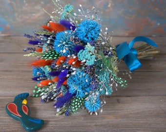 Bright  bouquet, dried flowers bouquet, dried flowers, woodland bouquet, wild herbs