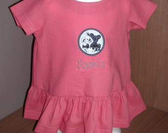 "Dress short sleeve ""Best Friends"" 100% cotton coral colours personalised with application in grey"