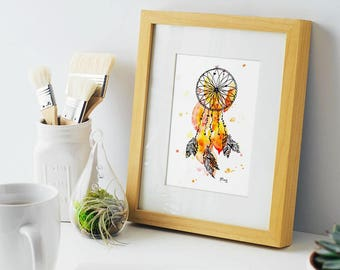 Dreaming In Orange, Orange Dreamcatcher  5x7 print of original watercolor and ink, art , home decor great gift