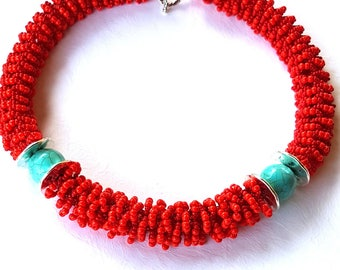 red necklace red beads red beads seed beads small beads long howlit turquoise color red statement necklace beaded necklace long boho necklac