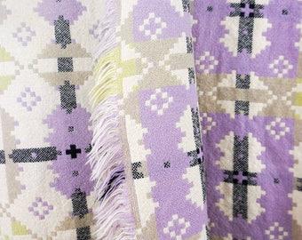 Welsh Tapestry Blanket - Purple & Green