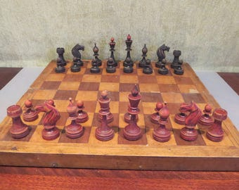 Antique pre-1939 USSR Soviet Wooden Chess Set with board, very rare