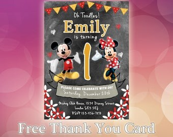 Mickey Mouse Invitation / Mickey Mouse Invite / Mickey Mouse Birthday Invitation / Mickey Mouse Party Invitation / MM06