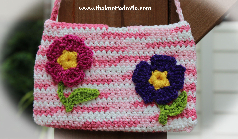 Pink Flower Purse Crochet Flower Purse Kids Flower Purse