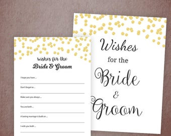 Wishes for the Bride and Groom Card, Gold Confetti Bridal Shower Game Printable, Wedding Shower, Bachelorette Party, A001