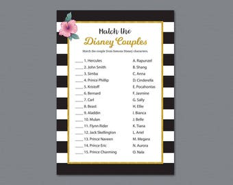 Kate Spade Disney Couples Match Game, Famous Couples Match, Black White Gold Stripes, Match the Disney Couples, Bridal Shower Games,  A014