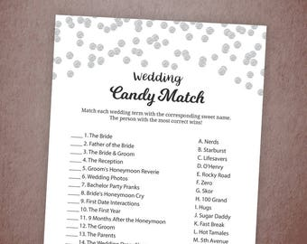 Candy Match Bridal Shower Game Printable, Match the Candy, Silver Glitter Confetti, Wedding Candy Match, Instant Download, A003
