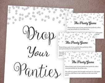 Drop Your Panties Here, Bridal Shower Games, Panty Game, Guess the Panties, Lingerie, Bachelorette Party Games, Undies, Silver Dots, A003