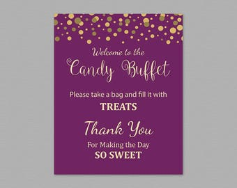 Candy Buffet Sign, Printable Candy Bar Sign, Purple Gold Wedding Table Sign, Grab a Treat Sign, Baby Shower, Bridal Shower Decor, A006