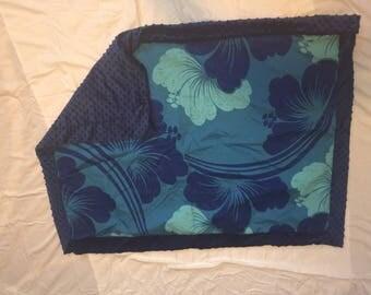 Blue Minky aloha print blanket