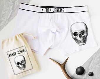 Skull Print Boxers, Personalised Men's Boxer Shorts, Mens Pants, Personalized Gift, Skull Print, Skeleton, Gift for Him
