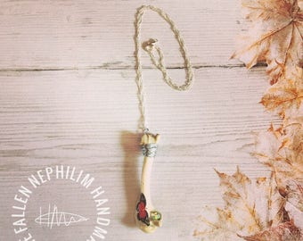 Beautiful Wild Rabbit Leg Pendant and Silver Plated Chain, Real Genuine Bone - Red Butterfly Taxidermy Macabre Hare
