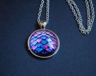 Purple blue dragon scale necklace