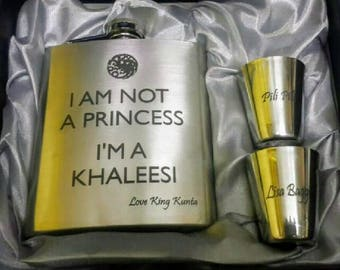 I'm Not A Princess, I'm A Khaleesi Flask // Engraved Flask // Her Gift  // Fun Flask // Party Favor // Women Flask // 21st Birthday Gift