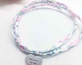 "Personalised ""Mother of the Bride"" double wrap Liberty bracelet 