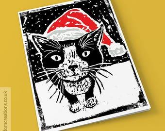 Santa Hat Cat Christmas Card - Cat Xmas Card - Christmas Card for Cat Lover - Cute Cat Card