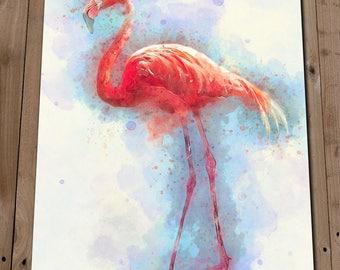 Flamingo Print - Colourful Wall Art Watercolour Painting - Flamingo Art - Flamingo Gifts - Home Decor - Pink Bird - Poster - Animal Lover