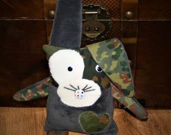 Bunny Flecki, plush bunny camouflage, grey